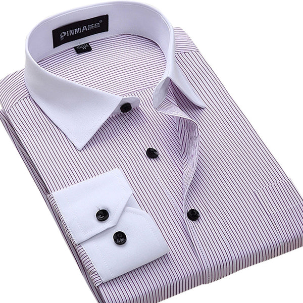 Fashion White Collar Striped Men Shirts Chemise