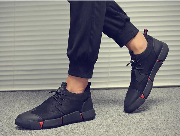 Black Men's Leather Casual Sneakers