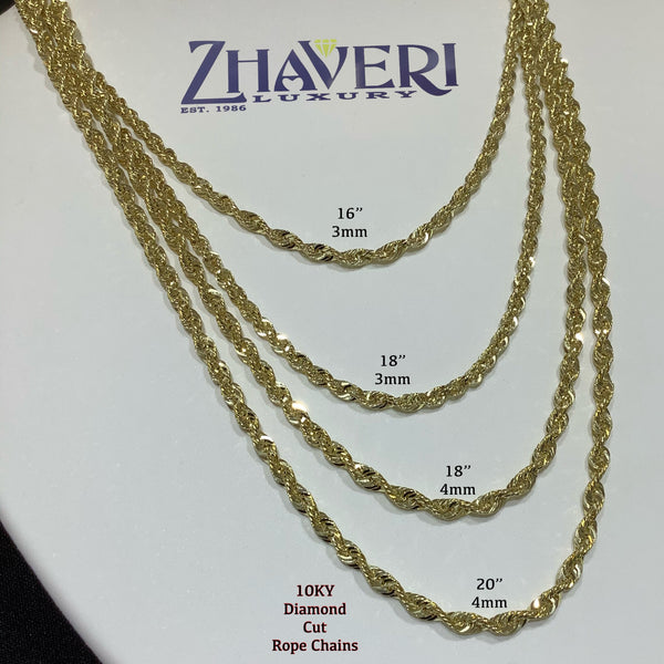 10KT DIAMOND CUT ROPE CHAINS
