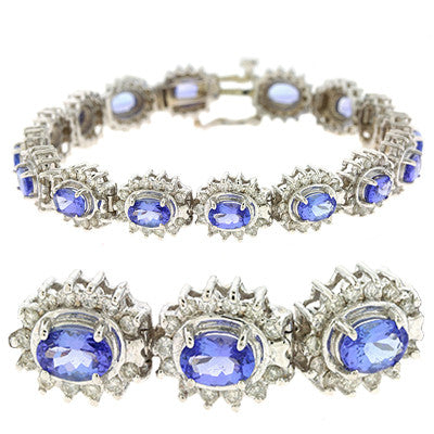 Tanzanite & Diamond Bracelet  # B4013-TWG - Zhaveri Jewelers
