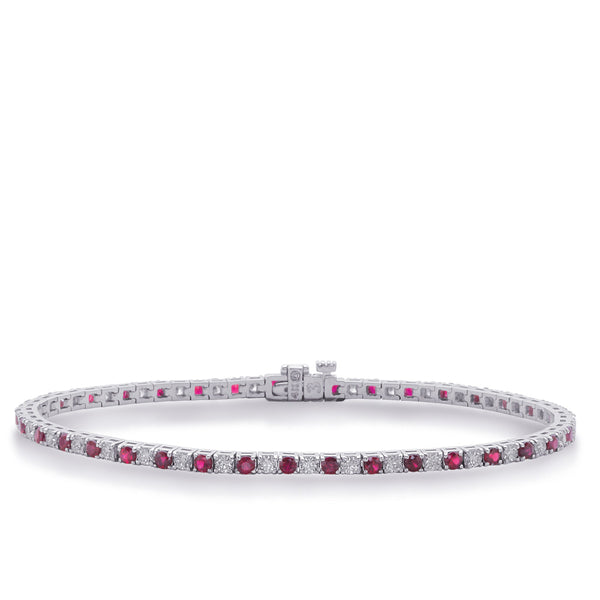 14K White Gold and Ruby Diamond Bracelet. #1090-B4101-4RWG