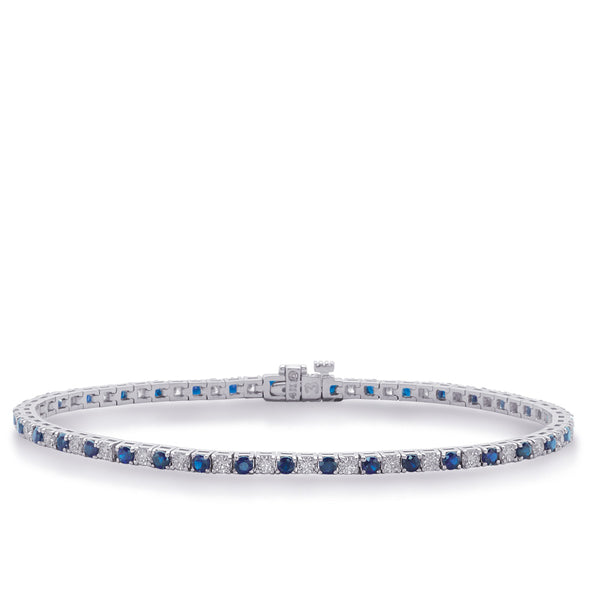 14K White Gold Sapphire and Diamond Bracelet. #1090-B4101-4SWG
