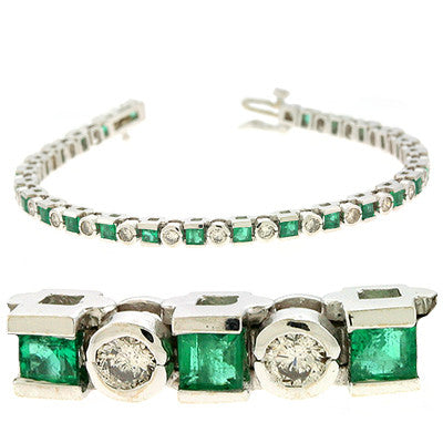 Emerald & Dia White Gold Bracelet