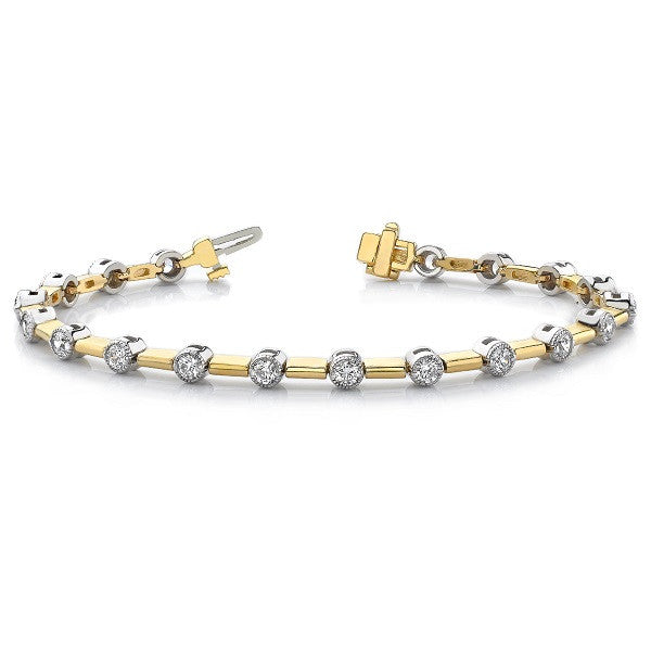 Yellow & White Gold DIamond Bracelet  # B4182-2.2MM - Zhaveri Jewelers