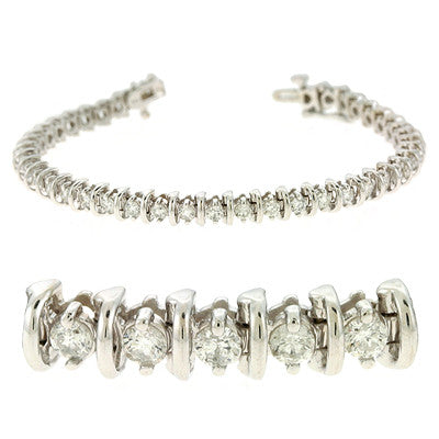 Bar Diamond Tennis Bracelet  # B4288-3WG - Zhaveri Jewelers