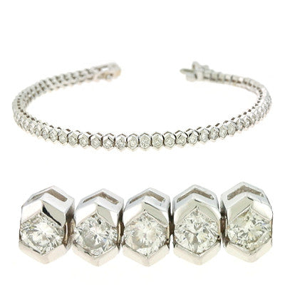 White Gold Tennis Bracelet  # B4357-4WG - Zhaveri Jewelers