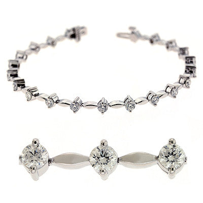 White Gold Diamond Bracelet  # B4397-3WG - Zhaveri Jewelers
