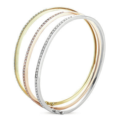 White Pink and Yellow Gold Bangel