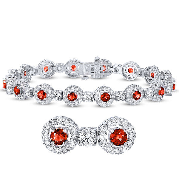 White Gold Ruby & Diamond Bracelet