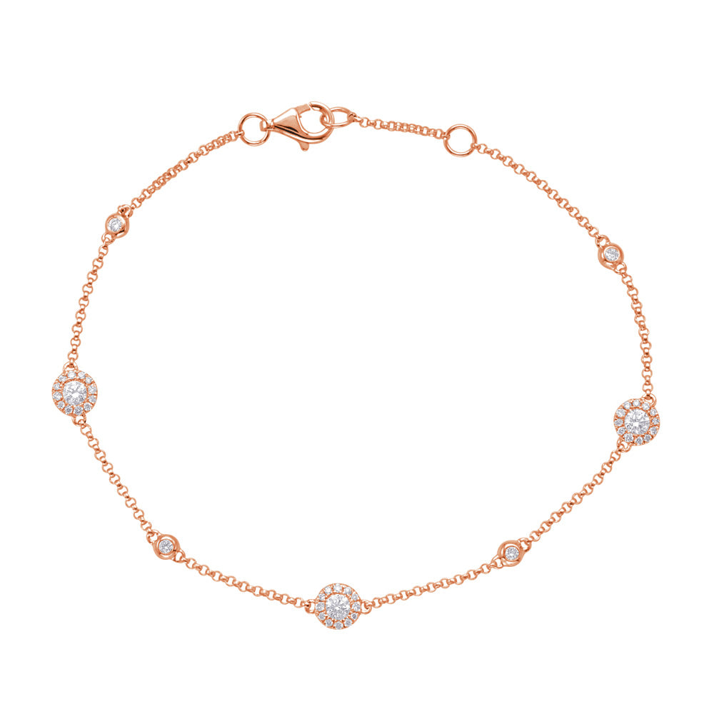 14K Rose Gold Diamond Bracelet. #1090-B4422RG