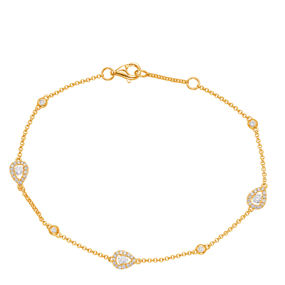 14K Yellow Gold Diamond Bracelet. #1090-B4423YG
