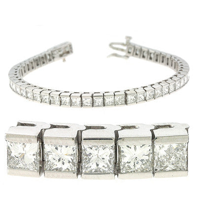 Princess Cut Diamond Tennis Bracelet  # B143-5.5WG - Zhaveri Jewelers
