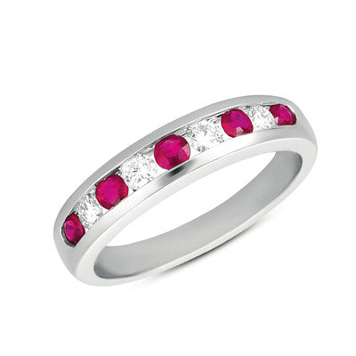 Ruby & Diamond Channel Set Band Ring  # C3085-RWG - Zhaveri Jewelers