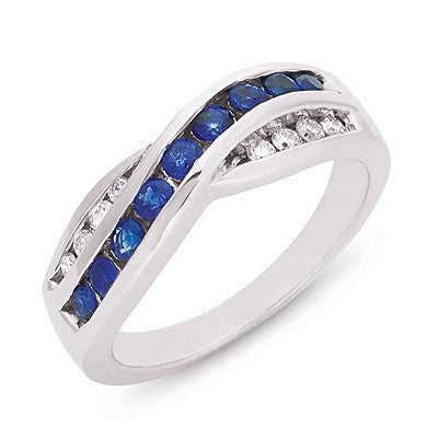 Blue Sapphire & Diamond Channel Set Band Ring  # C3208-SWG - Zhaveri Jewelers