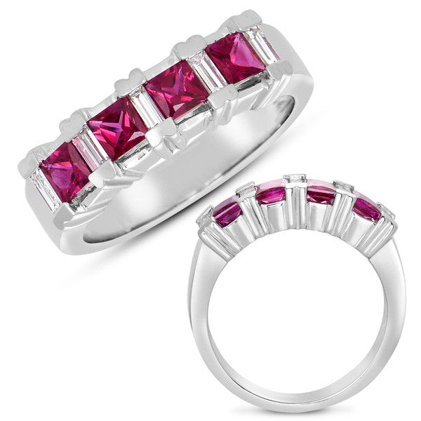 Ruby & Dia Ring White Gold  # C3215-RWG - Zhaveri Jewelers