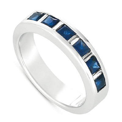 Square Blue Sapphire Channel Set White Gold Band Ring  # C3492-SWG - Zhaveri Jewelers