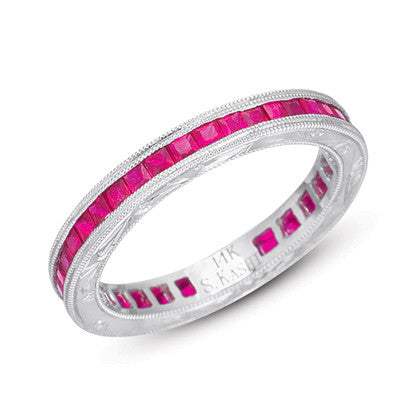 Channel Set Princess cut Ruby Eternity Band Ring # C4115-RWG - Zhaveri Jewelers