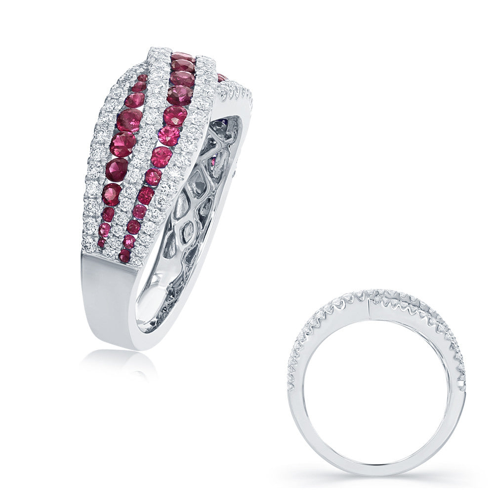 White Gold Ruby & Diamond Ring  # C4173-RWG - Zhaveri Jewelers