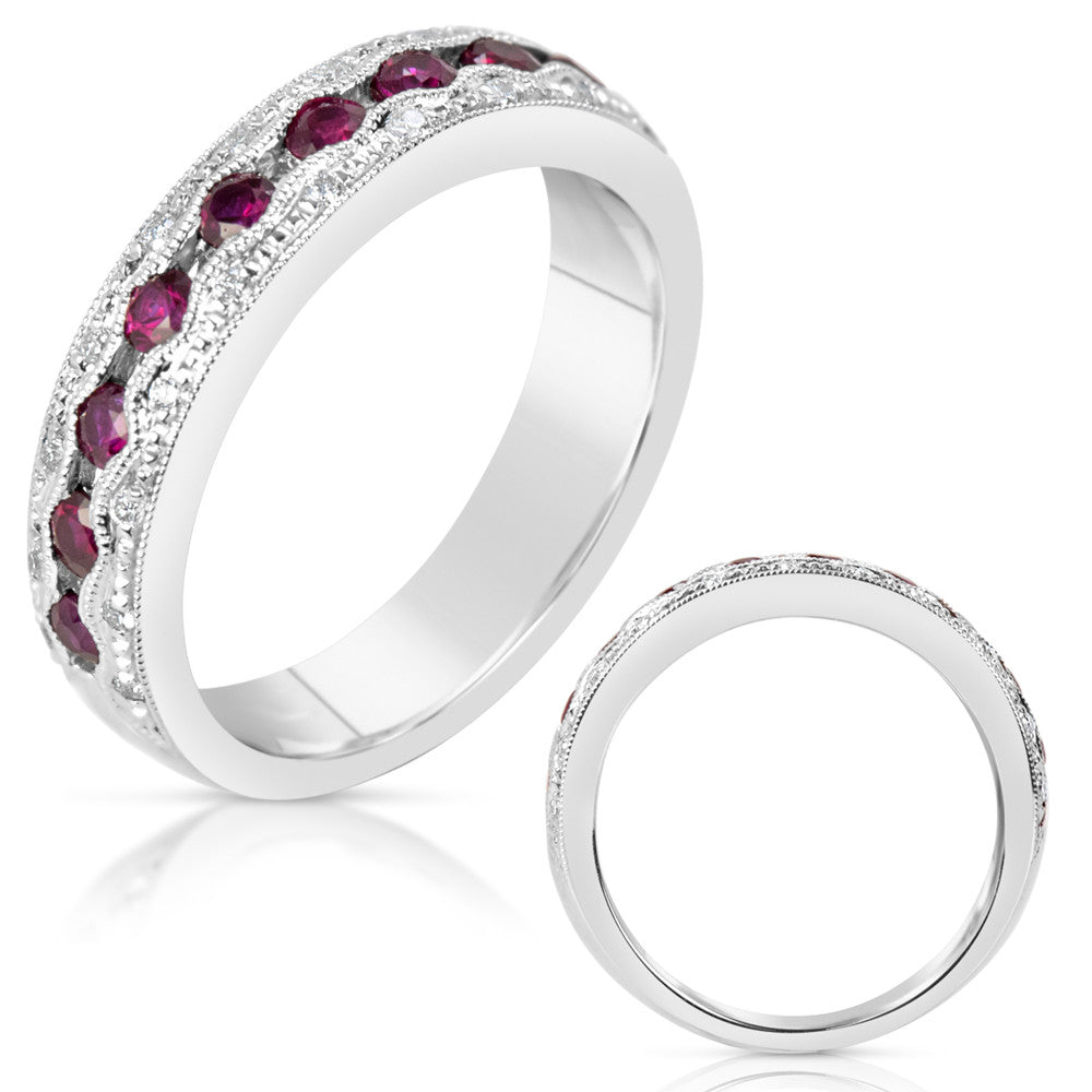 White Gold Ruby & Diamond Band  # C4475-RWG - Zhaveri Jewelers