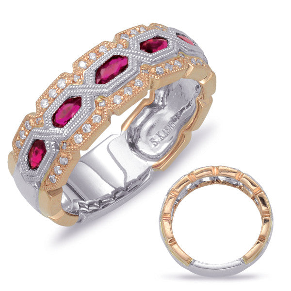 Rose & White Gold Two Tone Ruby & Diamond Ring  # C4536-RRW - Zhaveri Jewelers