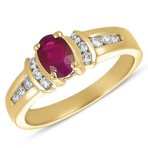 Oval Ruby & Diamond Ring  # C5052-R - Zhaveri Jewelers