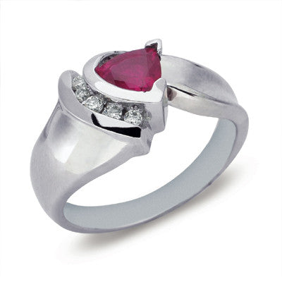 Contemporary Trillion cut Ruby & 5 Diamond Ring  # C5325-RWG - Zhaveri Jewelers