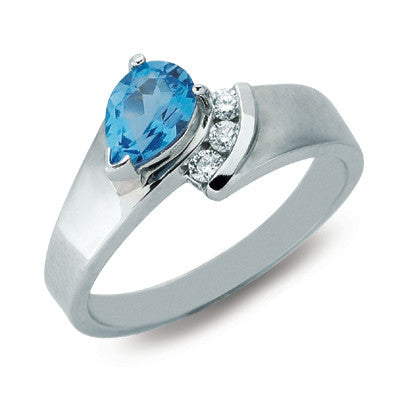 Blue Topaz & Diamond Ring  # C5384-BTWG - Zhaveri Jewelers