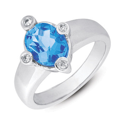 Blue Topaz & Diamond Ring  # C5543-BTWG - Zhaveri Jewelers