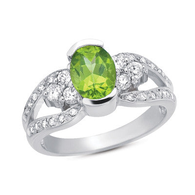 Peridot & Diamond Ring  # C5551-PWG - Zhaveri Jewelers