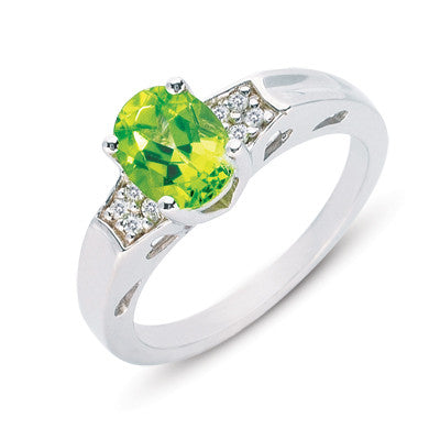 Peridot & Diamond Ring  # C5590-PWG - Zhaveri Jewelers