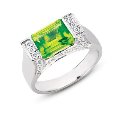 Peridot. & Diamond Ring  # C5606-PWG - Zhaveri Jewelers