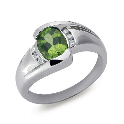 Peridot & Diamond Ring  # C5610-PWG - Zhaveri Jewelers