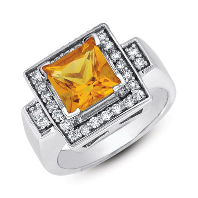 Citrine & Diamond Ring  # C5638-CWG - Zhaveri Jewelers