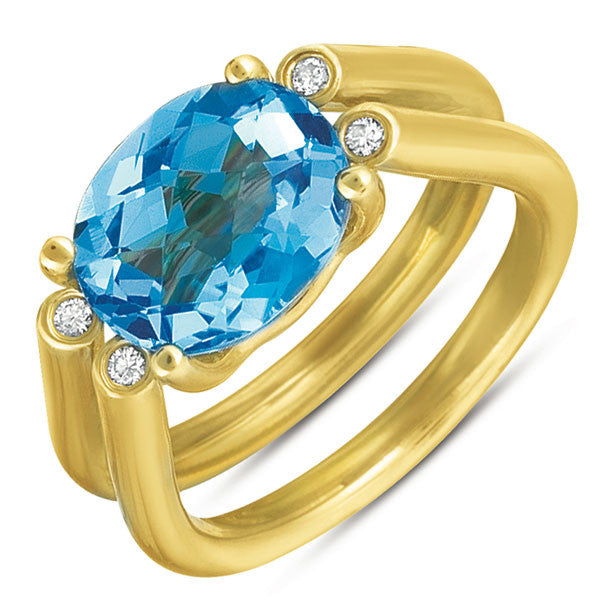 Blue Topaz. & Diamond Ring