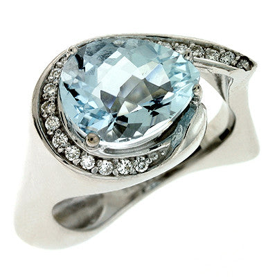 Aquamarine & Diamond Ring  # C5658-AQWG - Zhaveri Jewelers