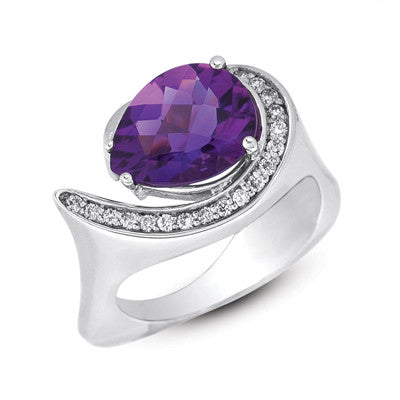 Amethyst. & Diamond Ring