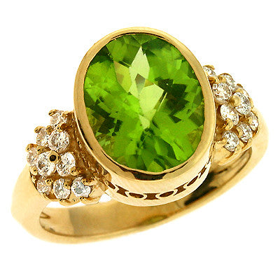 Peridot. & Diamond Ring  # C5660-P - Zhaveri Jewelers