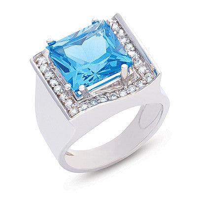 Blue Topaz.& Diamond Ring