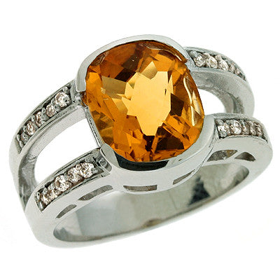 Citrine & Diamond Ring