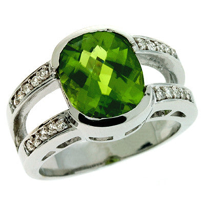 Peridot & Diamond Ring  # C5690-PWG - Zhaveri Jewelers