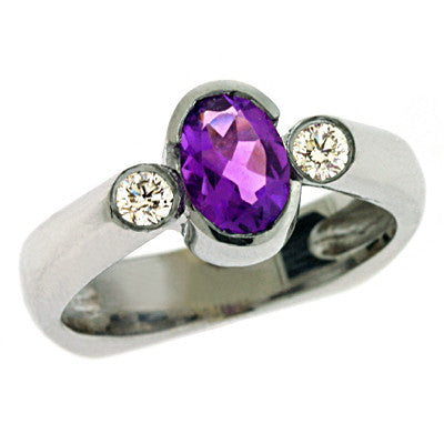 Amethyst & Diamond Ring  # C5704-AWG - Zhaveri Jewelers