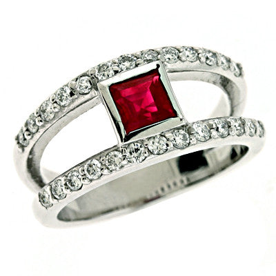 Square Ruby & Diamond Ring  # C5710-RWG - Zhaveri Jewelers