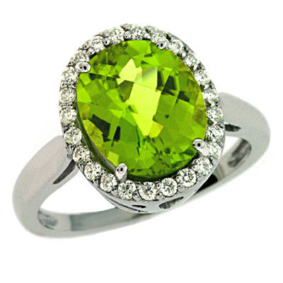 Peridot & Diamond Ring  # C5728-PWG - Zhaveri Jewelers