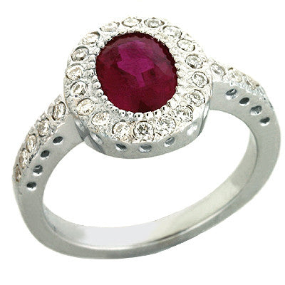 Oval Ruby & Diamond Halo Ring  # C5729-RWG - Zhaveri Jewelers