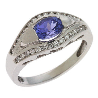 Tanzanite & Diamond Ring  # C5730-TWG - Zhaveri Jewelers