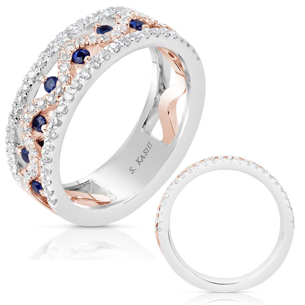 Rose & White Gold Sapphire Diamond Band