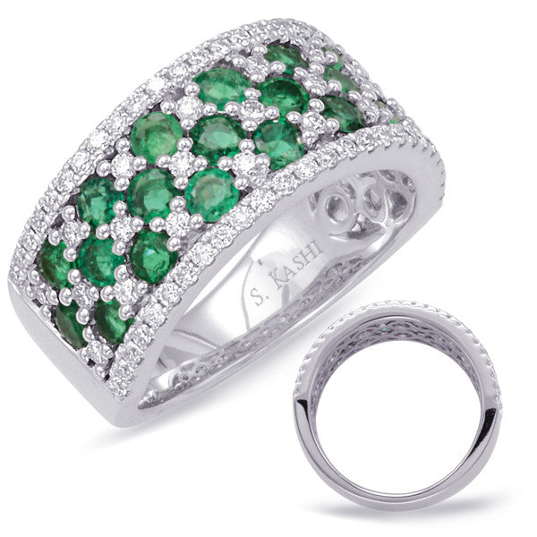 White Gold Emerald & Diamond Ring  # C5775-EWG - Zhaveri Jewelers