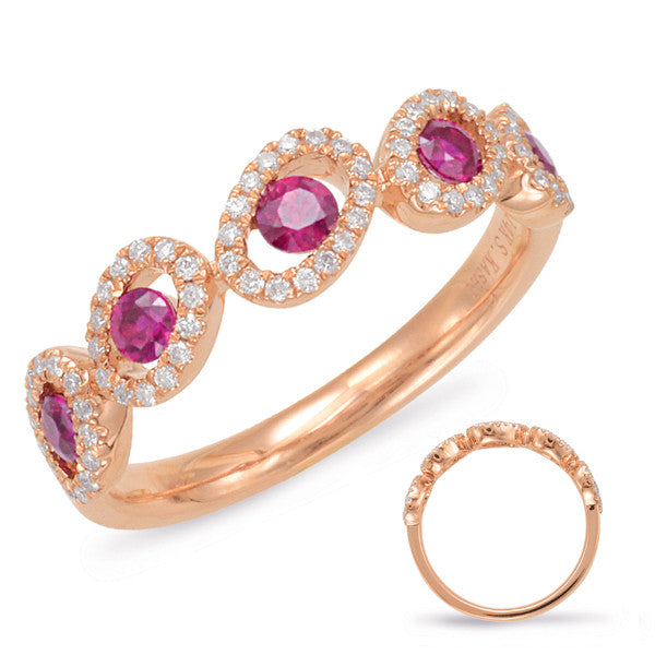 Rose Gold Contemporary Ruby & Diamond Ring  # C5788-RRG - Zhaveri Jewelers