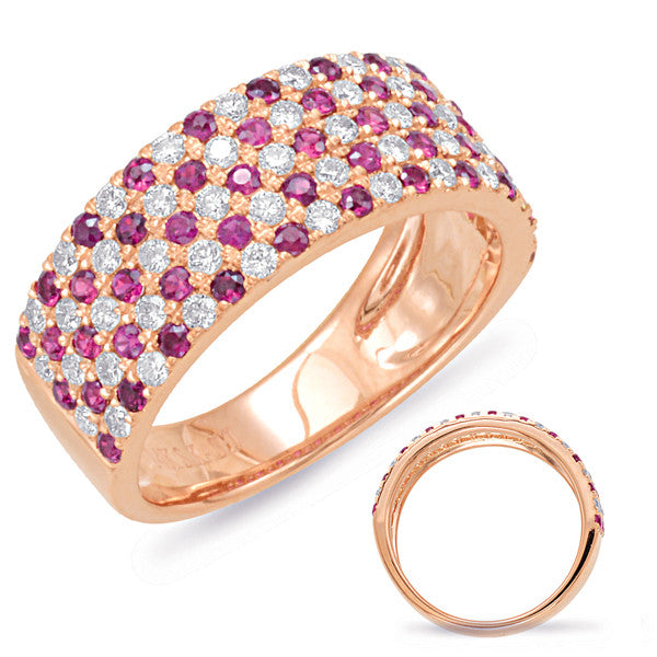 Rose Gold Ruby & Diamond Band Ring  # C5790-RRG - Zhaveri Jewelers