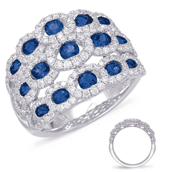 White Gold Sapphire & Diamond Ring  # C5795-SWG - Zhaveri Jewelers